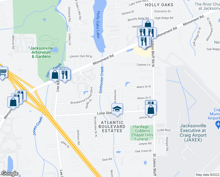 map of restaurants, bars, coffee shops, grocery stores, and more near 10360 Brookwood Bluff Road North in Jacksonville