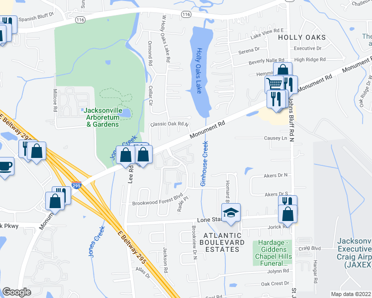 map of restaurants, bars, coffee shops, grocery stores, and more near 1385 Brookwood Forest Boulevard in Jacksonville