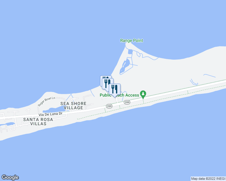 map of restaurants, bars, coffee shops, grocery stores, and more near 2 Portofino Drive in Pensacola Beach