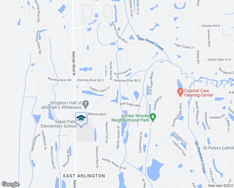 map of restaurants, bars, coffee shops, grocery stores, and more near 1227 Baybreeze Drive in Jacksonville
