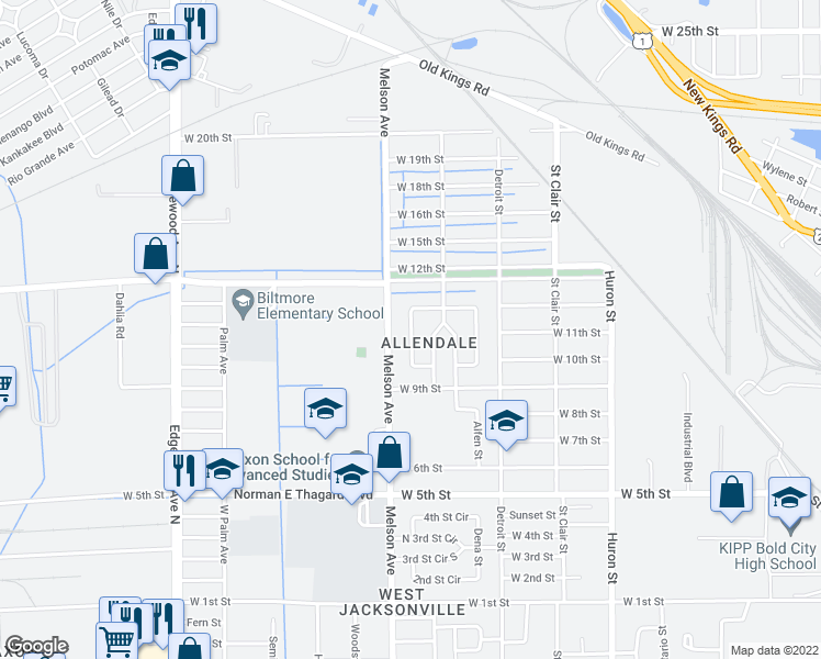 map of restaurants, bars, coffee shops, grocery stores, and more near Allandale Circle West in Jacksonville