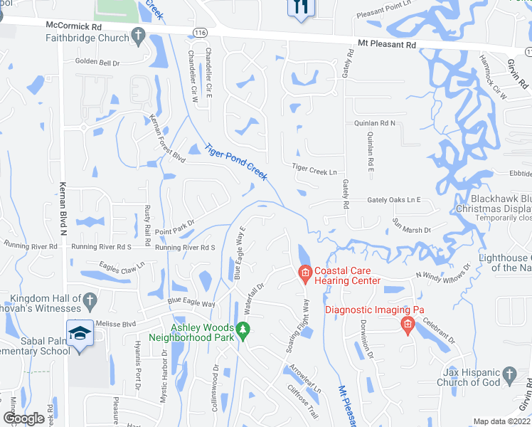 map of restaurants, bars, coffee shops, grocery stores, and more near 1438 Blue Eagle Way East in Jacksonville