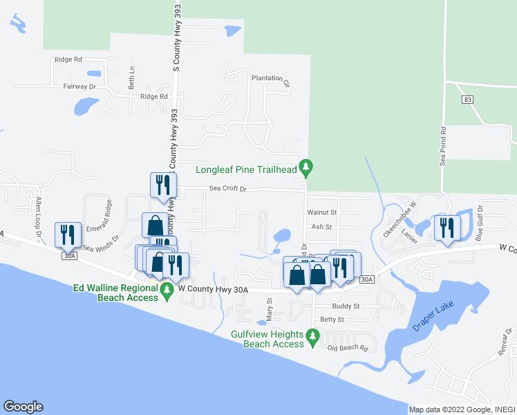 map of restaurants, bars, coffee shops, grocery stores, and more near 356 Hidden Lake Way in Santa Rosa Beach