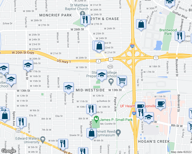 map of restaurants, bars, coffee shops, grocery stores, and more near 1250 West 16th Street in Jacksonville