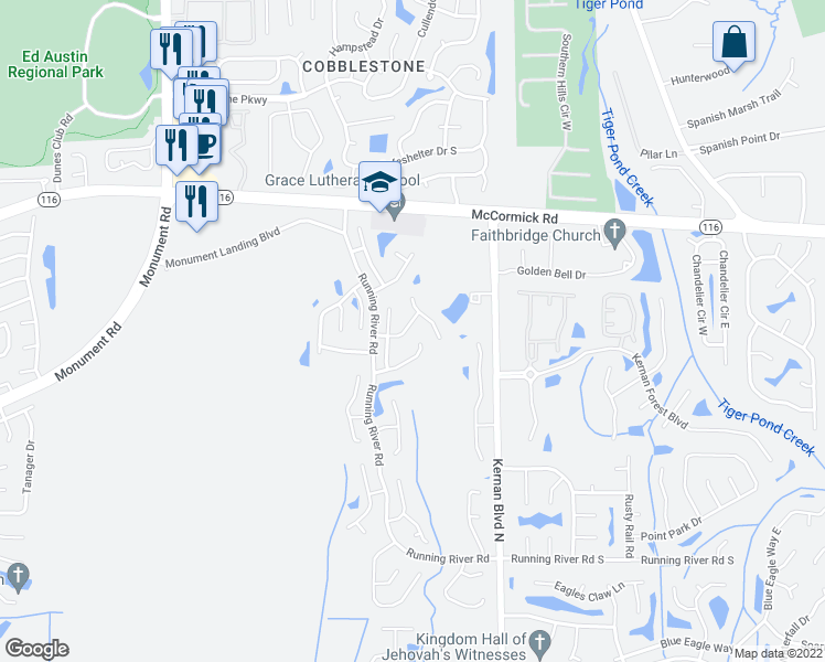 map of restaurants, bars, coffee shops, grocery stores, and more near 12244 High Laurel Drive in Jacksonville