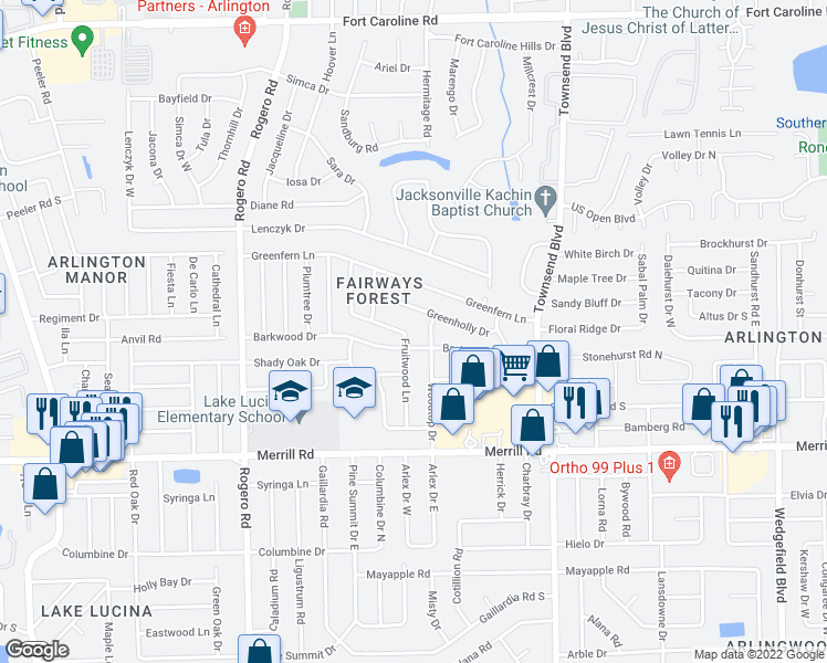 map of restaurants, bars, coffee shops, grocery stores, and more near 6843-6899 Barkwood Drive in Jacksonville