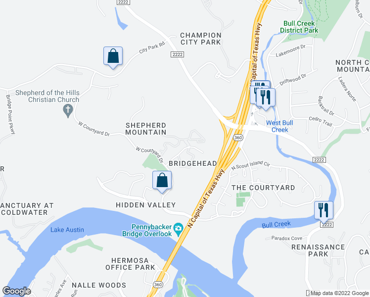 map of restaurants, bars, coffee shops, grocery stores, and more near Shepherd Mountain Cove in Austin