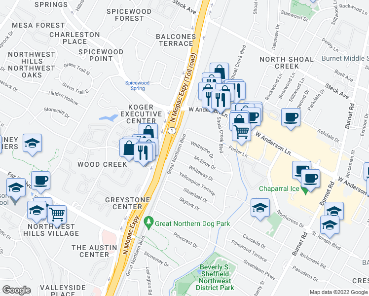map of restaurants, bars, coffee shops, grocery stores, and more near 3304 McElroy Drive in Austin