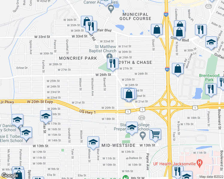 map of restaurants, bars, coffee shops, grocery stores, and more near 1327 West 23rd Street in Jacksonville
