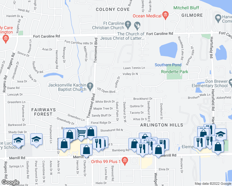 map of restaurants, bars, coffee shops, grocery stores, and more near 3268 Volley Drive in Jacksonville