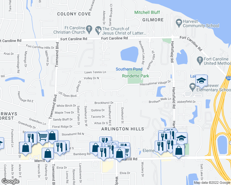 map of restaurants, bars, coffee shops, grocery stores, and more near 3354 International Village Court in Jacksonville