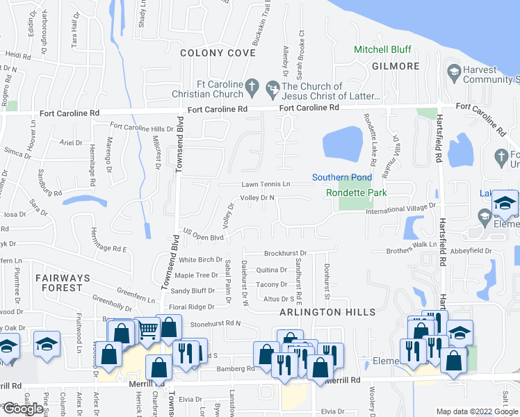 map of restaurants, bars, coffee shops, grocery stores, and more near 3416 Lawn Tennis Drive in Jacksonville