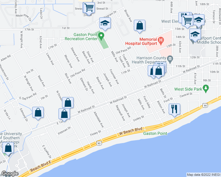 map of restaurants, bars, coffee shops, grocery stores, and more near 1031 Joseph Avenue in Gulfport