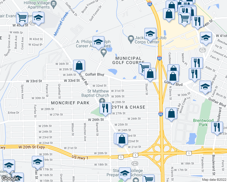 map of restaurants, bars, coffee shops, grocery stores, and more near 1259 West 30th Street in Jacksonville
