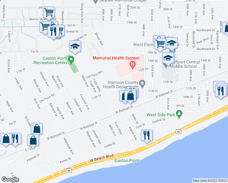 map of restaurants, bars, coffee shops, grocery stores, and more near 1047 Camp Avenue in Gulfport