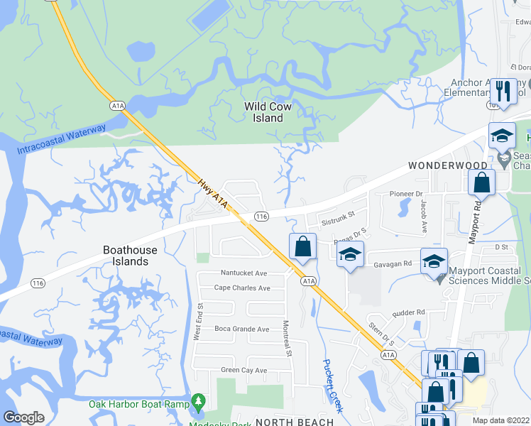 map of restaurants, bars, coffee shops, grocery stores, and more near Wonderwood Drive in Jacksonville