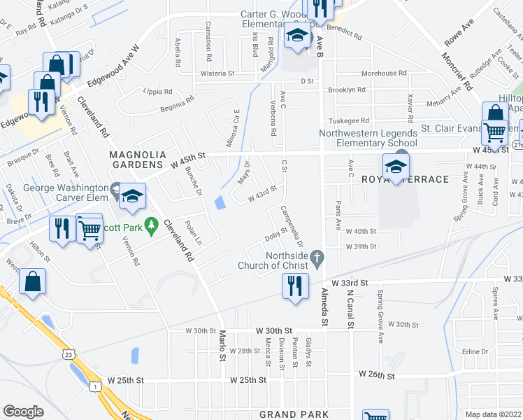 map of restaurants, bars, coffee shops, grocery stores, and more near 5062 Walcott Avenue in Jacksonville