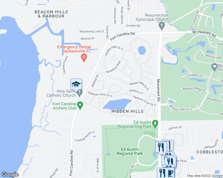 map of restaurants, bars, coffee shops, grocery stores, and more near 4041 Arbor Lake Drive West in Jacksonville