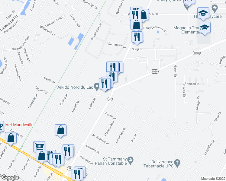 map of restaurants, bars, coffee shops, grocery stores, and more near Louisiana 1088 in Mandeville