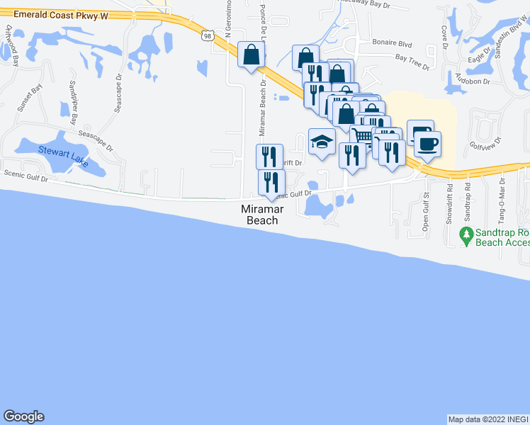 map of restaurants, bars, coffee shops, grocery stores, and more near 599 Scenic Gulf Drive in Miramar Beach