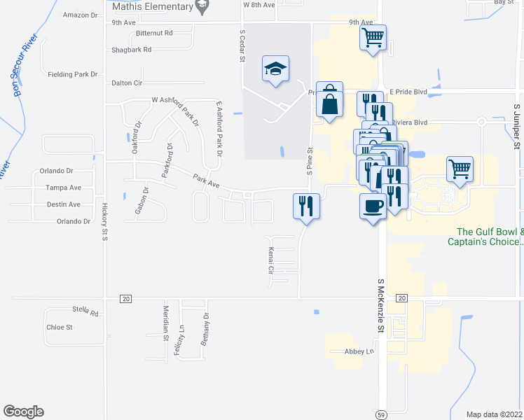 map of restaurants, bars, coffee shops, grocery stores, and more near 400 Park Avenue in Foley