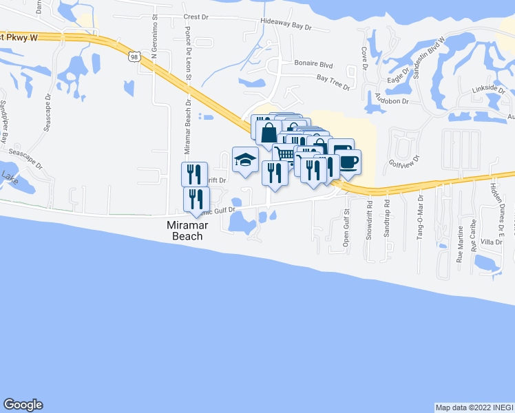 map of restaurants, bars, coffee shops, grocery stores, and more near 291 Scenic Highway 98 in Miramar Beach