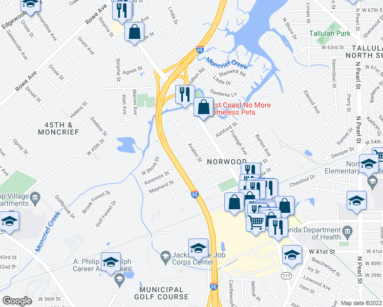 map of restaurants, bars, coffee shops, grocery stores, and more near 6510 Avalon Street in Jacksonville