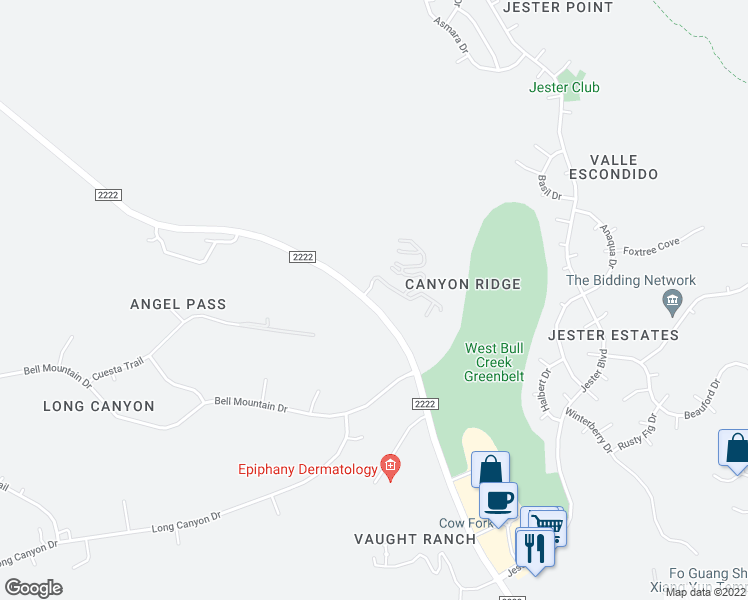 map of restaurants, bars, coffee shops, grocery stores, and more near Ranch Creek Drive in Austin