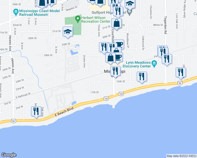 map of restaurants, bars, coffee shops, grocery stores, and more near 307 Texas Avenue in Gulfport