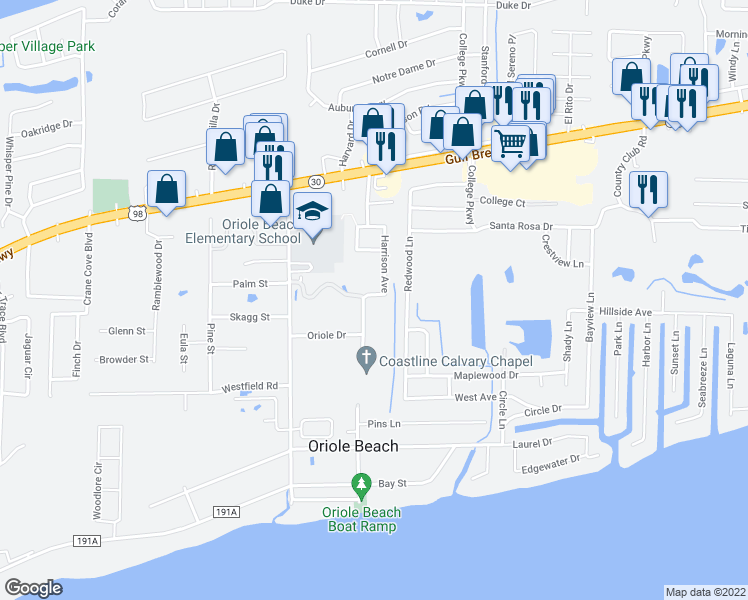 map of restaurants, bars, coffee shops, grocery stores, and more near 1222 Harrison Avenue in Gulf Breeze