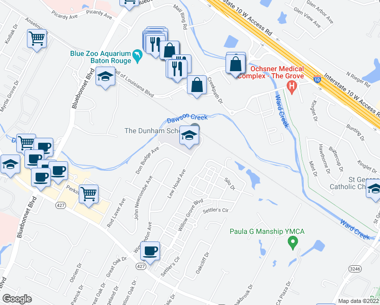 map of restaurants, bars, coffee shops, grocery stores, and more near 7442 Lew Hoad Avenue in Baton Rouge