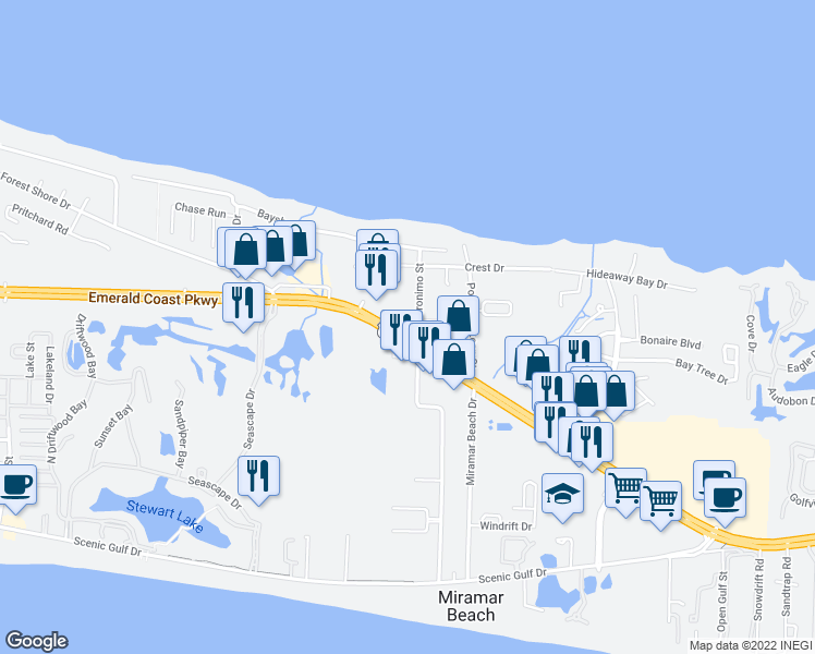 map of restaurants, bars, coffee shops, grocery stores, and more near 43 North Geronimo Street in Destin