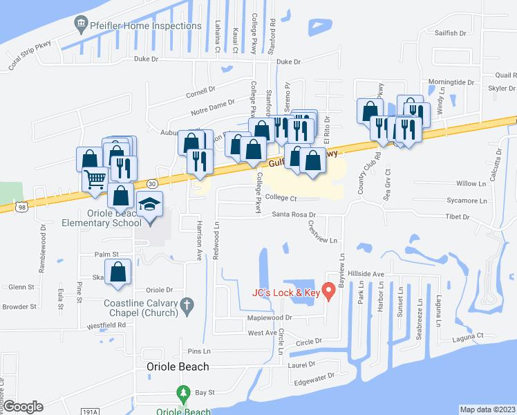 Map Gulf Breeze Florida.3208 College Court Gulf Breeze Fl Walk Score
