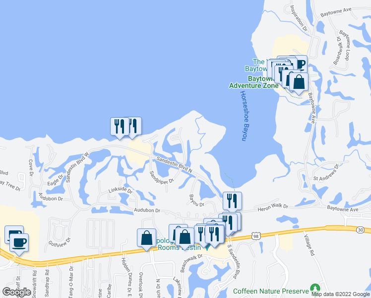 map of restaurants, bars, coffee shops, grocery stores, and more near 916 Harbour Point Lane in Miramar Beach