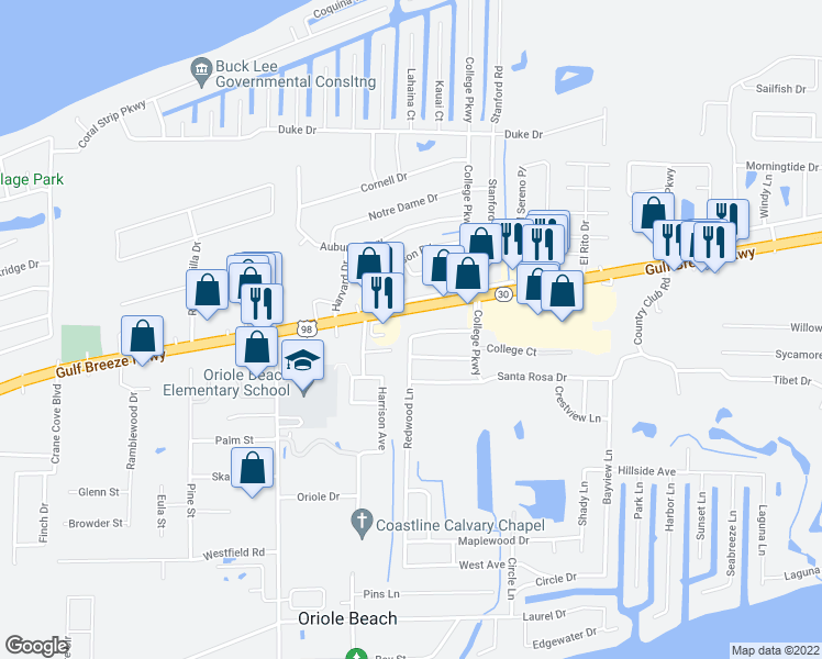map of restaurants, bars, coffee shops, grocery stores, and more near 3208 Redwood Lane in Gulf Breeze