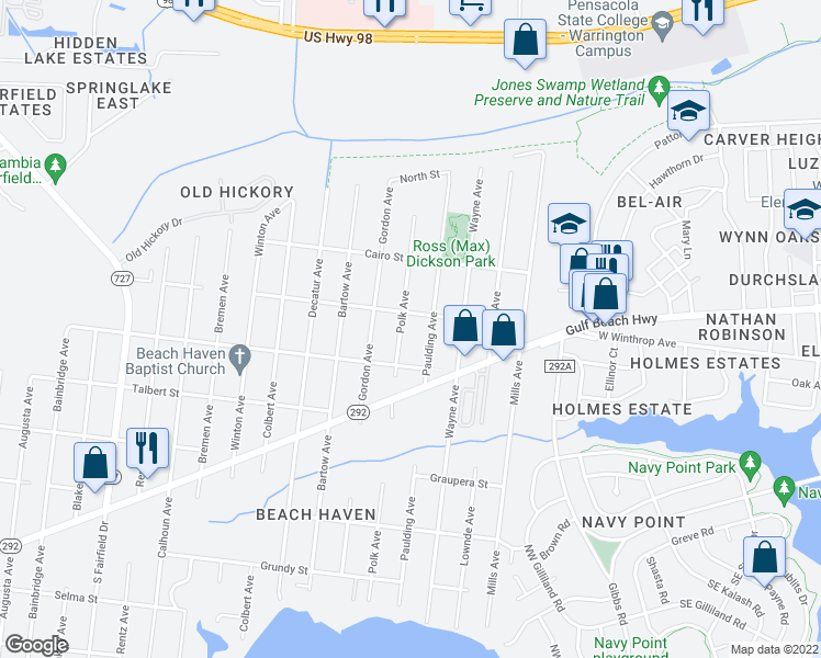 map of restaurants, bars, coffee shops, grocery stores, and more near 930 Polk Avenue in Pensacola