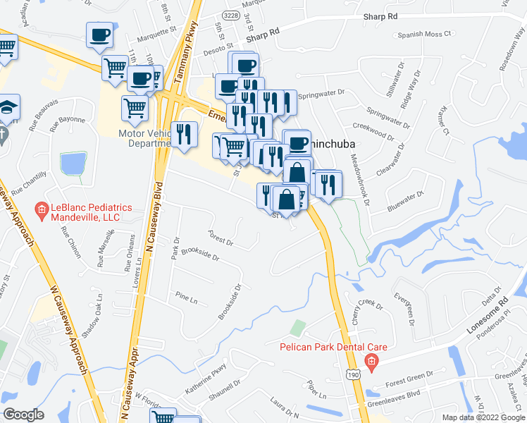 map of restaurants, bars, coffee shops, grocery stores, and more near 1-79 Saint Ann Drive in Mandeville