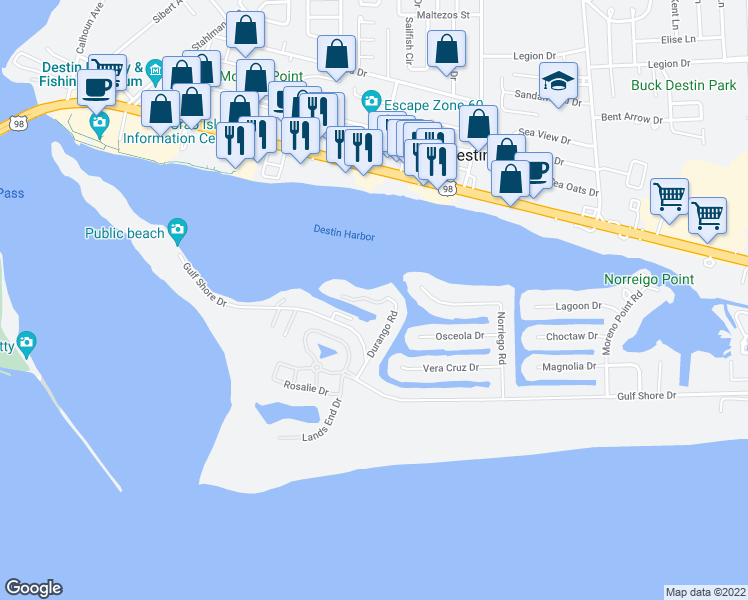 map of restaurants, bars, coffee shops, grocery stores, and more near 197 Durango Road in Destin