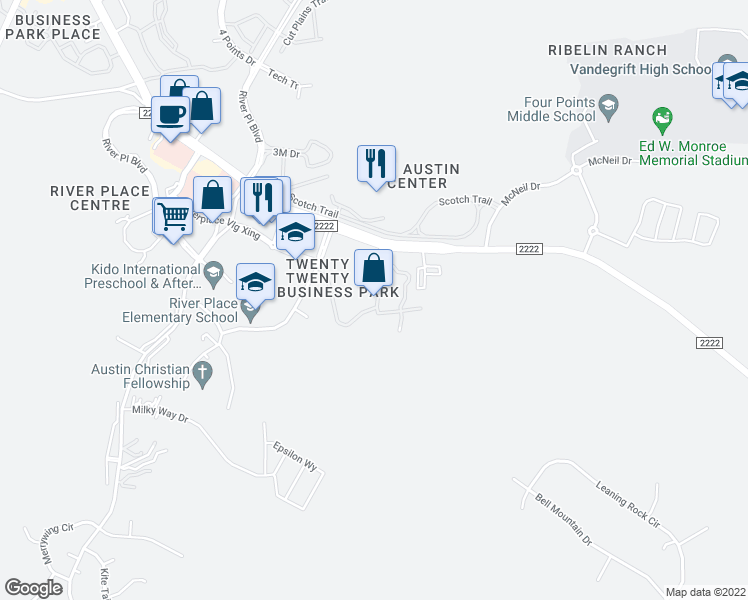 map of restaurants, bars, coffee shops, grocery stores, and more near 10301 Ranch to Market 2222 in Austin