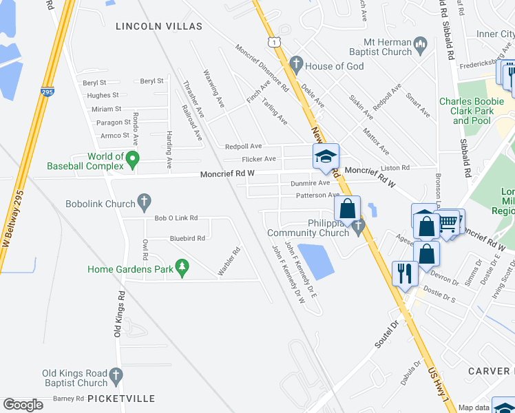 map of restaurants, bars, coffee shops, grocery stores, and more near 6053 John F Kennedy Drive North in Jacksonville