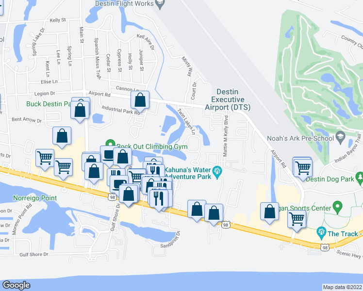 map of restaurants, bars, coffee shops, grocery stores, and more near 306 Liriope Loop in Destin
