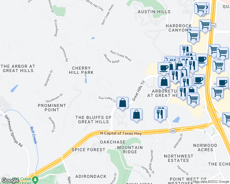 map of restaurants, bars, coffee shops, grocery stores, and more near 9208 Summerhill Cove in Austin