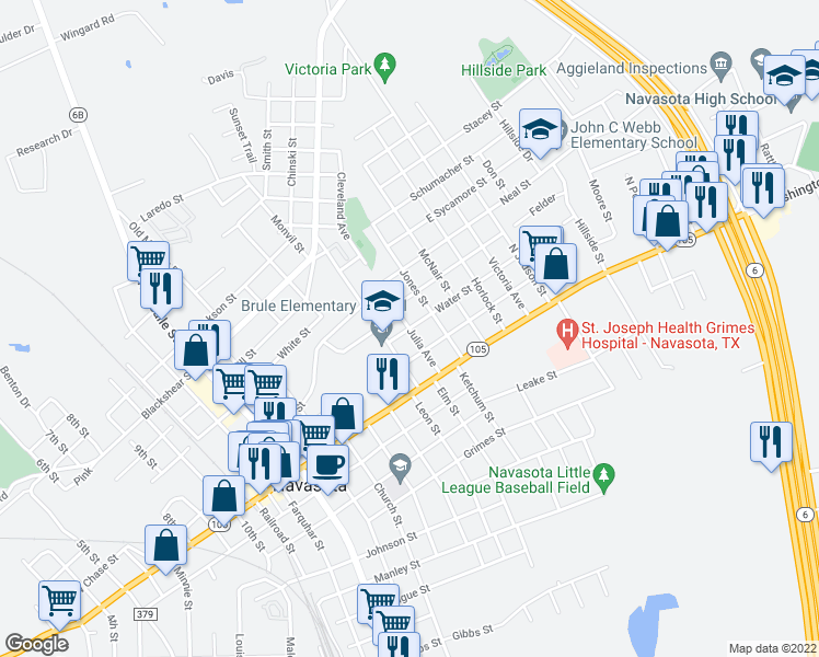 map of restaurants, bars, coffee shops, grocery stores, and more near Julia Avenue in Navasota