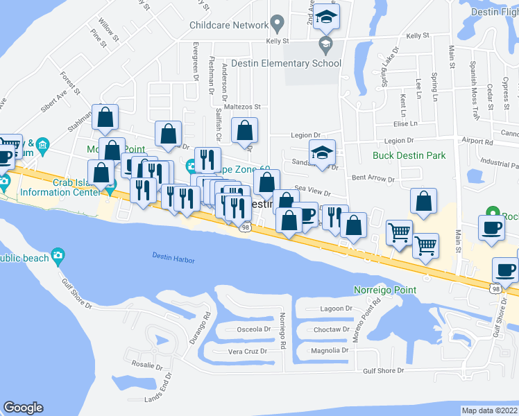 "map of restaurants, bars, coffee shops, grocery stores, and more near 5002 Sandestin Boulevard S #6230 ""Luau II in Destin"