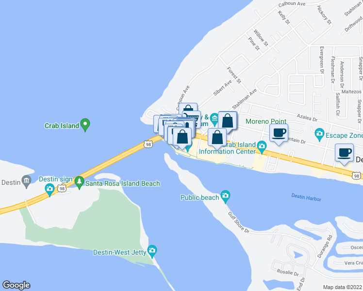 map of restaurants, bars, coffee shops, grocery stores, and more near 10 Harbor Boulevard in Destin