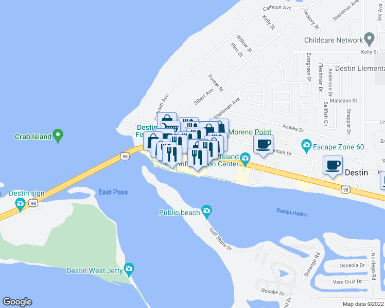 map of restaurants, bars, coffee shops, grocery stores, and more near 98 Harbor Boulevard in Destin