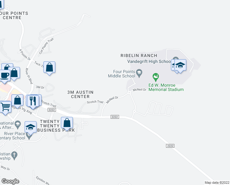 map of restaurants, bars, coffee shops, grocery stores, and more near 9900 McNeil Drive in Austin