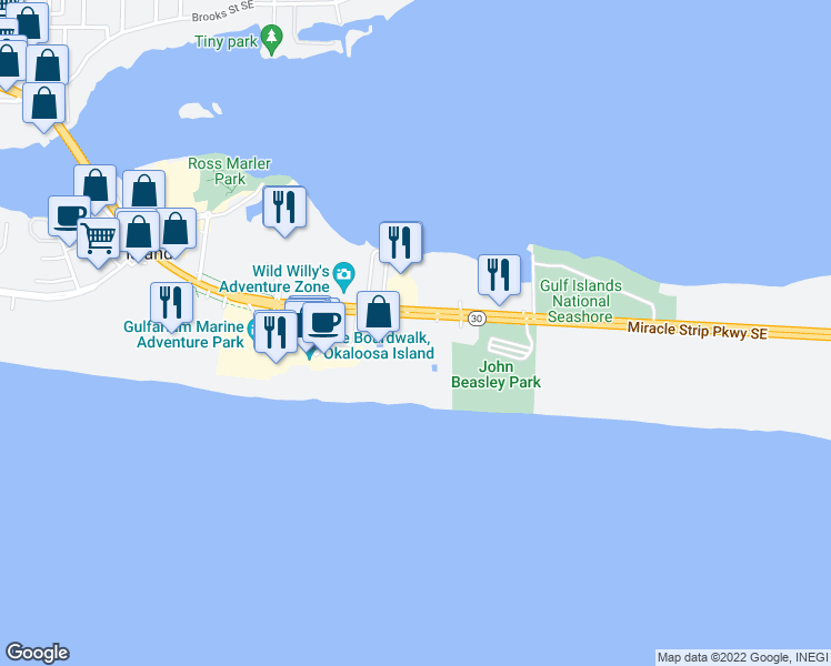 map of restaurants, bars, coffee shops, grocery stores, and more near 1517 Miracle Strip Parkway Southeast in Fort Walton Beach