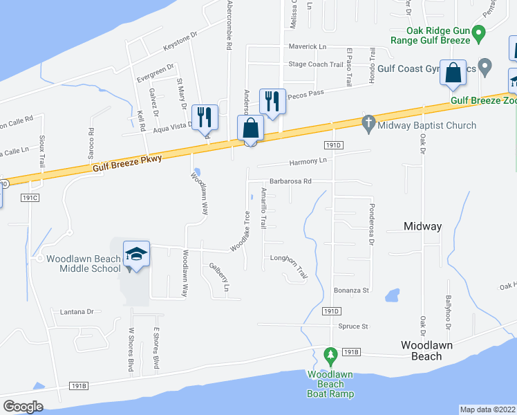 map of restaurants, bars, coffee shops, grocery stores, and more near 1649 Amarillo Trail in Gulf Breeze