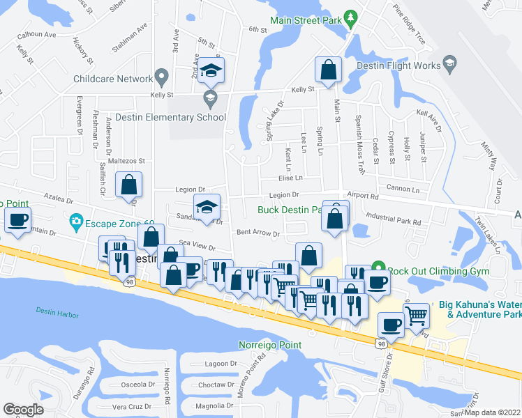 map of restaurants, bars, coffee shops, grocery stores, and more near 710 Legion Drive in Destin